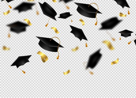 Flying graduation caps with confetti. Academic hats in air with golden ribbons. Vector background for college school, university, education. Illusztráció