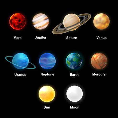 The Sun and planets of the Solar System on transparent background, realistic vector illustration. Illusztráció