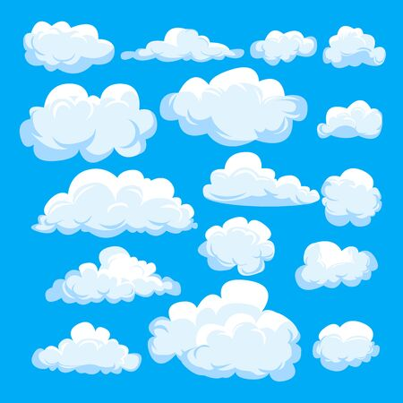 Set of different cartoon clouds isolated on blue sky. Weather symbolic graphics for illustration, web design, poster, site, app. Illusztráció