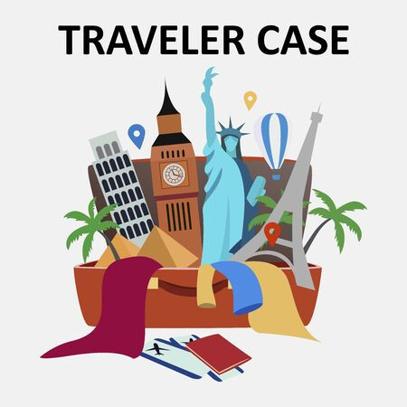 Traveler case. Tourist open case suitcase full of travel things objects elements icons. Time to traveling vacation concept. Vector flat cartoon isolated graphic design illustration