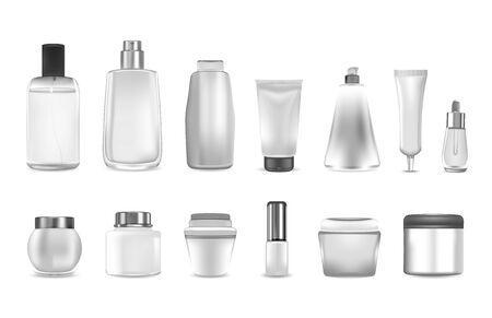 Envases de cosméticos o perfumes realistas. Envase de botella de producto vacío Plástico blanco 3D. Maqueta de crema y gel, champú y dispensador, spray y loción. Conjunto de vectores de belleza Ilustración de vector