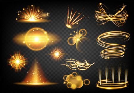 Set of sparkle stardust trail. Light effect. Magic glittering dust waves, golden glowing star trails. Gold shine. Christmas shining light effects. Vector cosmic glittering wave.