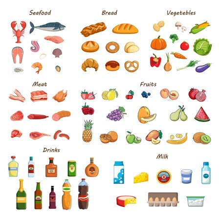 Food set. Collection of various meals, fish and meat, vegetables and fruits, milk and bread. Fresh nutrition design elements. Ingredients for cooking. Isolated vector cartoon icons on white background Illustration
