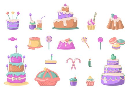 Colorful sweet cakes set icons in cartoon style. Big collection of cakes and candies illustration. Vector birthday party elements. Illusztráció