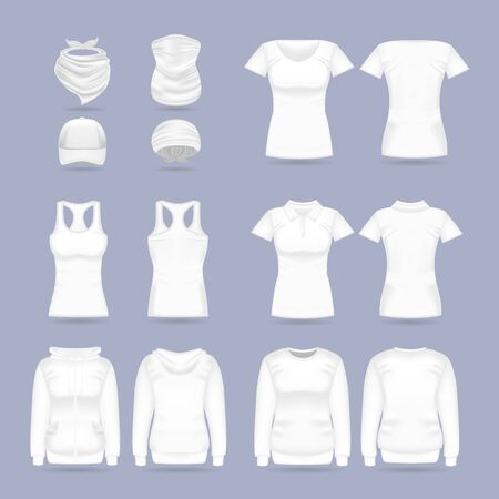 Blank white collection of womens clothing templates. T-shirt, hoodie, sweatshirt, short sleeve polo shirt, head bandanas and cap, tank top, neck scarf and buff. Realistic vector mock up