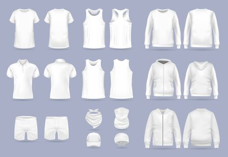 Blank white collection of mens clothing templates. T-shirt, hoodie, sweatshirt, short sleeve polo shirt, jacket bomber, head bandanas and cap, tank top, neck scarf and buff. Realistic vector mock up 矢量图像