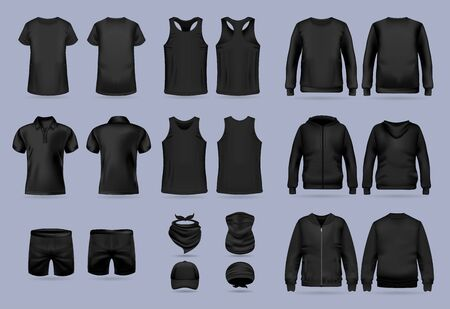 Blank black collection of mens clothing templates. T-shirt, hoodie, sweatshirt, short sleeve polo shirt, jacket bomber, head bandanas and cap, tank top, neck scarf and buff. Realistic vector mock up