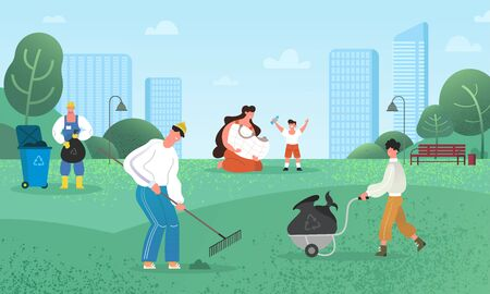 People and volunteers clean the park, utilize the rubbish, sort plastic bottles and clean up other dirt. Growing plants and using renewable energies, ecology and cooperation concept Illusztráció