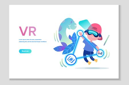 Virtual reality technology. Children in VR headset or VR helmet playing video games. VR glasses technology website page. Vector illustration