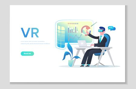 Website page shows all the privileges of using VR technology for presentations, learning and online conferences. Augmented reality concept banner with character