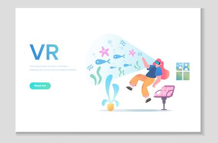 Augmented reality concept banner with character. Can use for web banner. People relax using VR technology. Vector illustration isolated