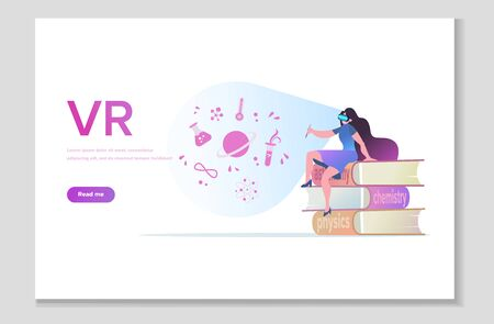Personalized learning, stem education, academic system, futuristic technology, VR and AR in online learning. VR glasses technology website page. Vector illustration