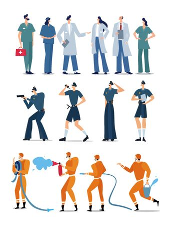 Representatives of different emergency professions, flat style characters police, firefighters and ambulance workers. Police, fire and ambulance. Vector Illustration