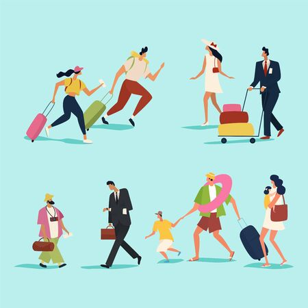Travelers with suitcases. People and family traveling on vacation. Flat style. Vector illustration. Иллюстрация