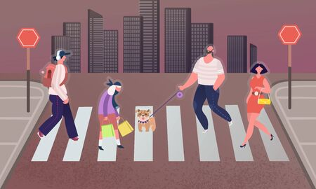 Pedestrians people on the crosswalk in the city. Man walks with a dog, business woman Crosses the road. Men and Women Characters Hurry at Work on Urban Background. Cartoon Flat Vector Illustration
