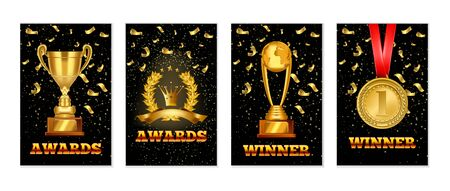 Set of gold laurel wreath award, Championship winner trophy, gold medal award. Realistic vector award banners design templates