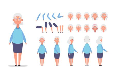 Elderly woman character constructor for animation with various views, poses, gestures, hairstyles and emotions. Cartoon old woman, grandma parts of body ready to use poses. Vector illustration
