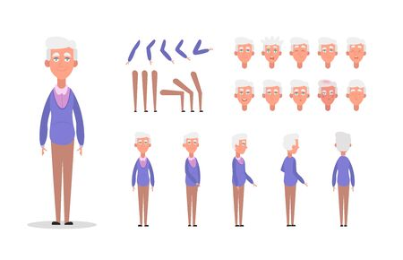 Elderly man character constructor for animation with various views, poses, gestures, hairstyles and emotions. Cartoon old man, grandpa parts of body ready to use poses. Vector illustration