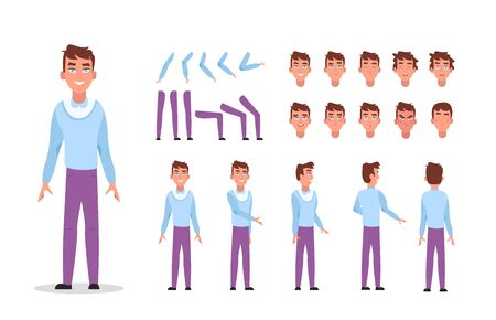 Man character constructor for animation with various views, poses, gestures, hairstyles and emotions. Cartoon young man, male parts of body ready to use poses. Vector illustration