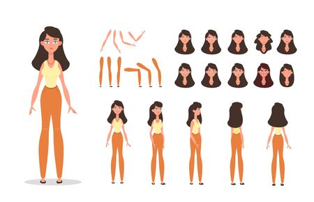 Woman character constructor for animation with various views, poses, gestures, hairstyles and emotions. Cartoon young woman, female parts of body ready to use poses. Vector illustration Иллюстрация