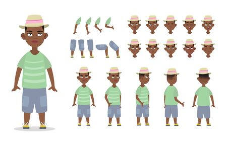 Little African American boy character constructor for animation with various views, poses, gestures, hairstyles and emotions. Cartoon Kid boy, children parts of body ready to use poses. Vector