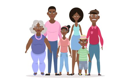 Happy African American family portrait. Vector people. Father, mother, grandmother, grandfather and children. Three generations. Vector illustration of a cartoon style