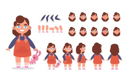 Little girl character constructor for animation with various views, poses, gestures, hairstyles and emotions. Cartoon Kid, children parts of body ready to use poses. Vector illustration Иллюстрация
