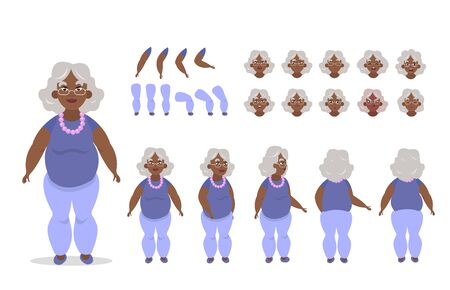 Elderly African American woman character constructor for animation with various views, poses, gestures, hairstyles and emotions. Cartoon old woman, grandma parts of body ready to use poses. Vector