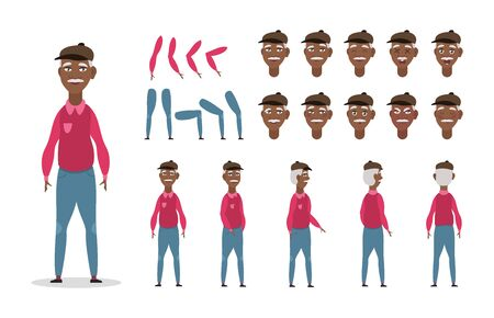Elderly African American man character constructor for animation with various views, poses, gestures, hairstyles and emotions. Cartoon old man, grandpa parts of body ready to use poses. Vector