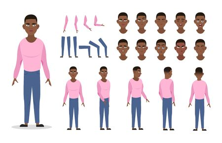 Man character constructor for animation with various views, poses, gestures, hairstyles and emotions. Cartoon African American man, male parts of body ready to use poses. Vector illustration