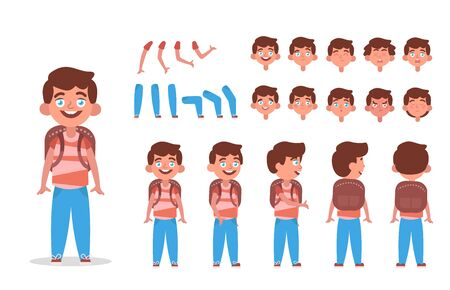 Little boy character constructor for animation with various views, poses, gestures, hairstyles and emotions. Cartoon Kid boy, children parts of body ready to use poses. Vector illustration