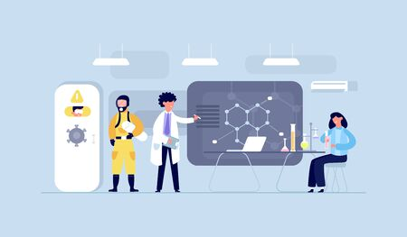 Group of scientists conducting experiments in science laboratory. Scientists chemical researchers working with lab equipment. Scientific research, medical virus lab, biology molecular.
