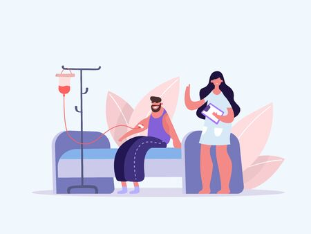 Volunteers in Medical Hospital Donating Blood. Man donate blood. World Blood Donor Day. Female nurse doing a blood test to a patient. Health Care. Vector illustration of a flat design