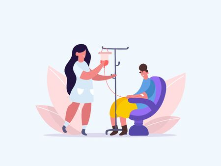 Volunteers in Medical Hospital Donating Blood. woman donate blood. World Blood Donor Day. Female nurse doing a blood test to a patient. Health Care. Vector illustration of a flat design
