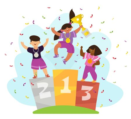 Three children with medals standing on winners pedestal. Winner first-place holds the cup in his hands. Cartoon flat style character, vector illustration.
