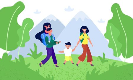 Happy family hiking nature. Father, mother and children are traveling through the mountains landscape. Trekking outdoor adventure vector concept. Active adventure tourism illustration Иллюстрация