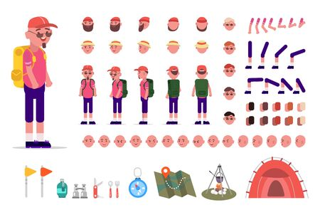 Hiking man kit, animation set of male tourist with camping equipment with different types of faces, haircuts, emotions, front, back, side view of a male face. Moving arms, legs. Constructor elements