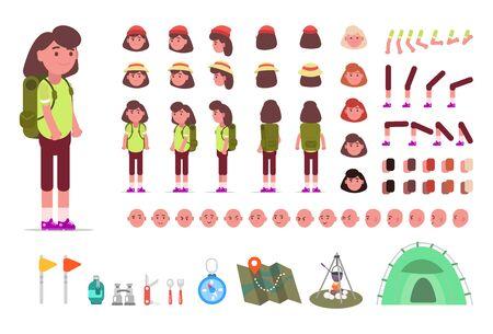 Kit de randonnée pour femme, ensemble d'animation de touriste féminine avec équipement de camping avec différents types de visages, coupes de cheveux, émotions, avant, arrière, vue latérale d'un visage masculin. Éléments constructeurs