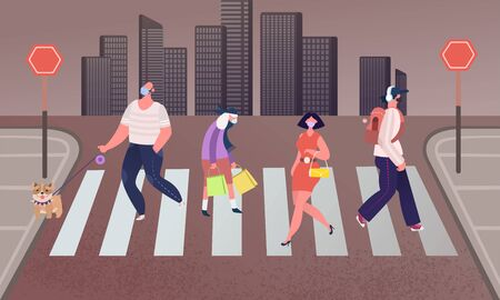Group of people wearing medical masks to prevent disease in the city. Man walks, business woman Crosses the road. Men and Women Characters Hurry at Work on Urban Background. Vector Illustration