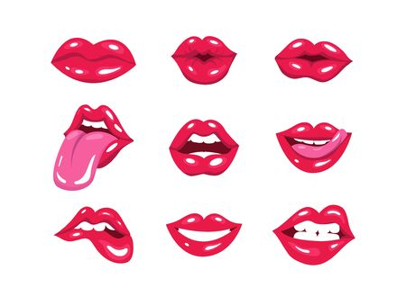 Set of red pop art lips. Vector illustration of woman's lips expressing different emotions, kiss, half-open mouth, such as smile, biting lip, lip licking, tongue out. vector illustration