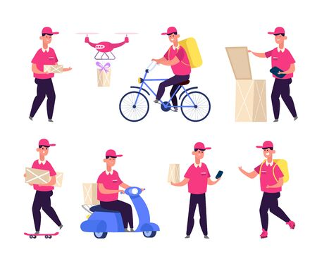 Food delivery man service. Courier boy on a scooter. Postman on bike, male character with box. Different Delivery Service Workers. Postal guys vector set
