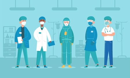 Professional doctors in protective suits, virus outbreak emergency concept. Doctor Characters. Corona virus, people wearing Personal Protective Equipment.Work safety. Flat Cartoon Style Иллюстрация
