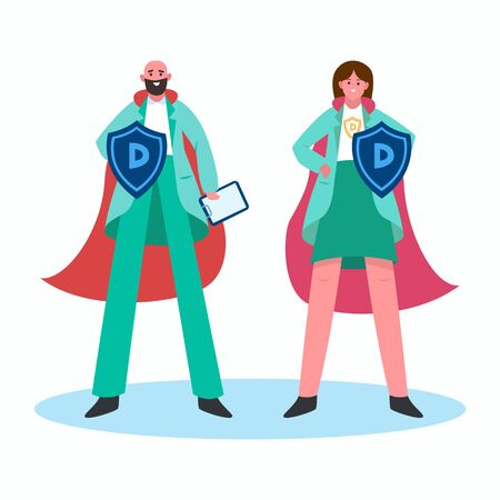Super doctors with red hero cloak and shield vs covid19. Female and male superhero doctor. Protection against Caronavirus concept Vector illustration design.
