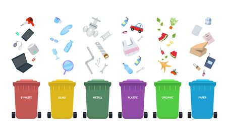 Waste bins. Rubbish bins for recycling different types of waste. Sort plastic, organic, e-waste, metal, glass, paper. Types baskets and garbage vector illustration