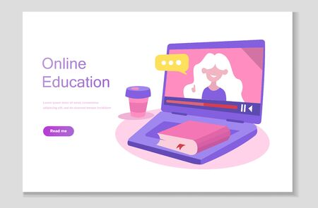 Online school studies from home, university remote learning, getting a degree by taking online courses. Online education system. Digital classroom, flipped class, blended learning and smart classroom