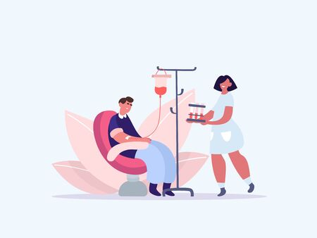 Volunteers in Medical Hospital Donating Blood. People donate blood. World Blood Donor Day. Female nurse doing a blood test to a patient. Health Care. Vector illustration of a flat design
