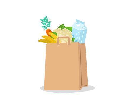 Shopping basket full of groceries products. Grocery store. Eco shopping bags and baskets with food. Vector supermarket illustration