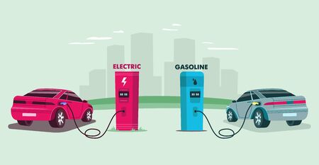 Electric charging station and petrol gas station against the background of the city. Energy conceptual Vector flat illustration.