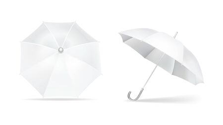 Umbrella white mockup. Brand parasol round with polished handle from sun rain top and side view, seasonal protective fabric symbol protection any weather. Vector mockup isolated on white.