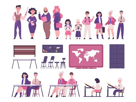 Schoolchildren and teachers classroom set. Talking teachers and joyful children elementary high school, together and their desk world map chairs wardrobe documents bookshelf. Vector clipart graphic.